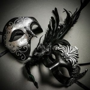 Silver Glitter & Roman Ancient Feather Couple Mask